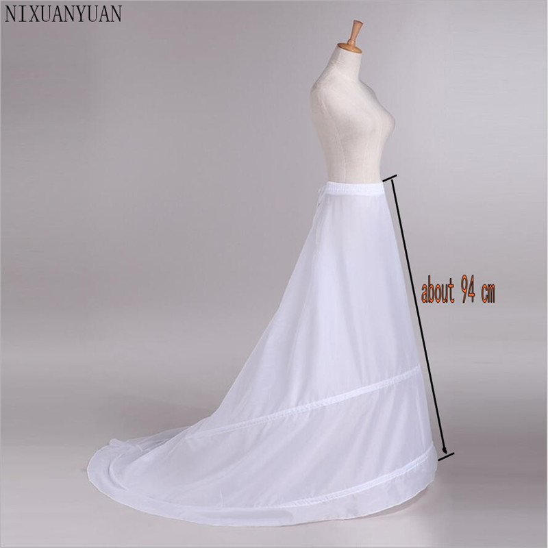 New Petticoats With Train White 2 Hoops Underskirt Crinoline For Bride Formal Dress In Stock Fashion Wedding Accessories