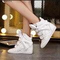 Escondido Saltos de Cunha Sapatos Casuais Sapatos de Couro Genuíno Mulher Respirável Zapatillas Deportivas Mujer Botas de Inverno Fivela sapatos de Salto Alto Top