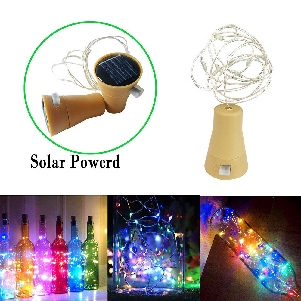 10 LED Wine Bottle Solar Powered Lights Cork Shaped LED Copper Wire String Colorful Garland Lights Festival Fairy Party Light