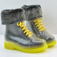 Crystal Clear Мартин зима Женщины Дождь Сапоги Резиновые Сапоги с меховой Обуви Воды Мода Прозрачный кружева Мартин Сапоги Дождь