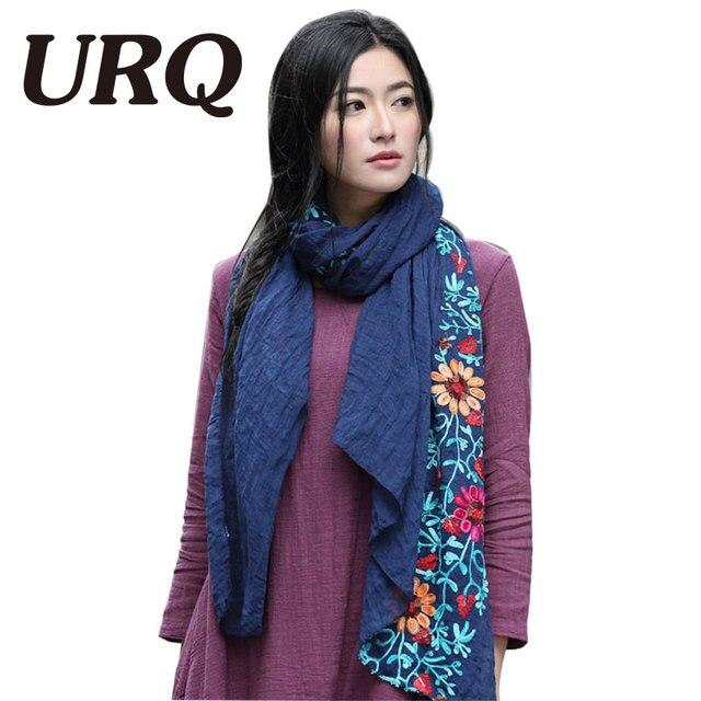 Длинные большой вышитые хиджаб шарфы цветочные вискоза шаль этническая японский Бандана для Дамы женщин высокого качества