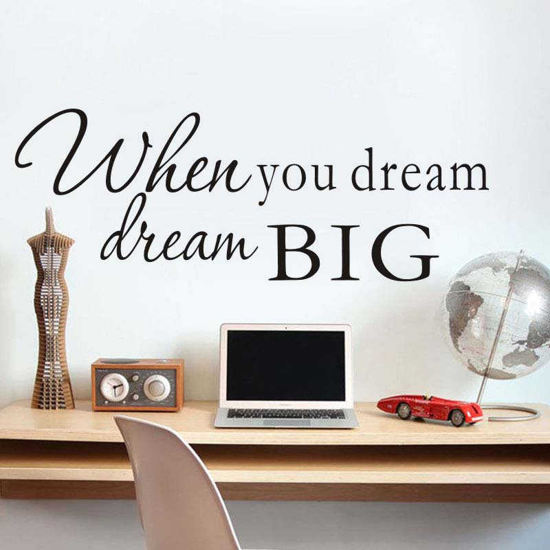 Dctop When You Dream Motivation Wall Stickers Dream Big Inspirational Quote  Wall Decals Office Kids Bedroom