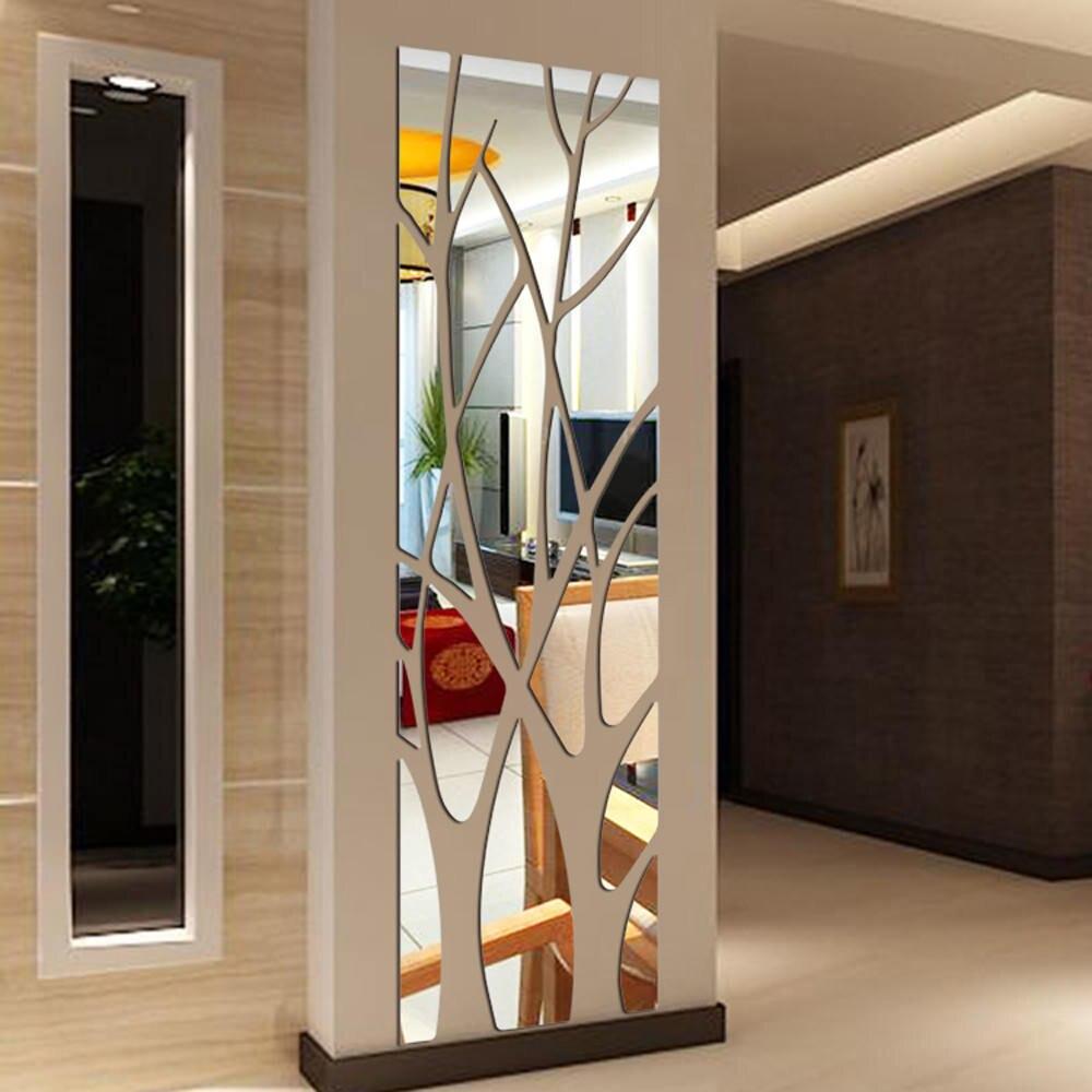 Miroir Salle De Sejour autocollant mural en acrylique, porte-miroir de branche 3d, ruban mural  noir doré, autocollant salon, salle à manger, porche, fond tv, décoration