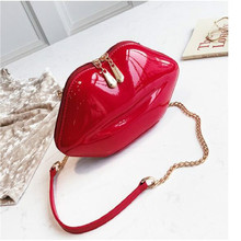 2019 Women Red Lips Clutch Bag High Quality Ladies PU Leather Chain Shoulder Evening Shaped Purse with 6 Colors