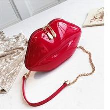 купить 2019 Women Red Lips Clutch Bag High Quality Ladies PU Leather Chain Shoulder Bag Evening Bag Lips Shaped Purse with 6 Colors дешево