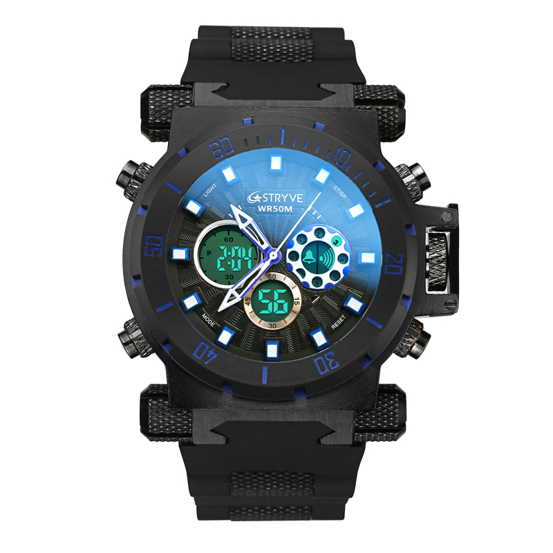 STRYVE Fashion Multi-function Silicone Waterproof Sports Watch Double Movement Large Dial Trend Outdoor Watch LED Digital ClockSTRYVE Fashion Multi-function Silicone Waterproof Sports Watch Double Movement Large Dial Trend Outdoor Watch LED Digital Clock