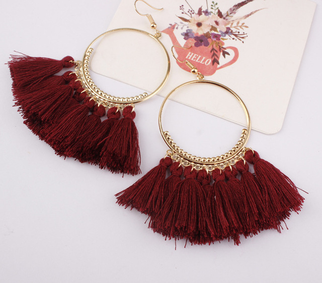LZHLQ Tassel Earrings For Women Ethnic Big Drop Earrings Bohemia Fashion Jewelry Trendy Cotton Rope Fringe Long Dangle Earrings 4