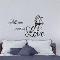 DCTOP Słodki I Romantyczny Sypialnia Dekoracji Wszystkich Musimy To Miłość Anioł Naklejki Ścienne PCV Projekt Dla Zagłówkiem