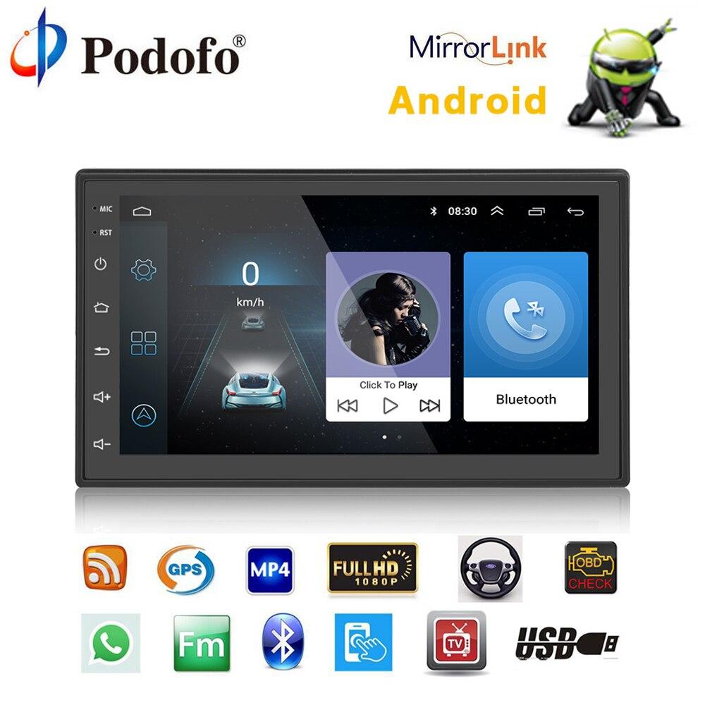 Podofo Voiture Multimédia lecteur Autoradio 2 Din Android Autoradio GPS Navigation Bluetooth Audio Stéréo radio Voiture MP5 Lecteur USB FM