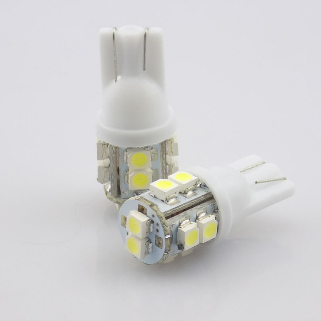 QvvCev 2017 New 10pcs T10 W5W 194 168 501 10 LED 3528 SMD Pure White Car Auto Replacement Light Side Wedge Rear Bulb Lamp DC12V