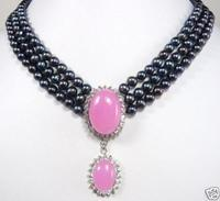 Charming 3 rows 7 8mm black pearl necklace pink jades pendant