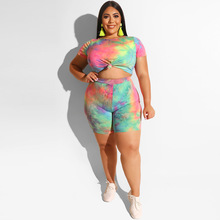 Laughido Plus Size Tie Dyeing Womens Set Women Short Sleeve Crop Tops And High Waist Shorts 2 Piece Sets Tracksuit Casual Suits