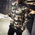 2016 Tamanho Grande Homens Jaqueta de Inverno Quente À Prova de Vento Moda Camouflage Imprimir Gola Homens Jaqueta Tamanho M-5XL
