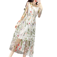Newest Runway 2017 Evening Party Dresses Gorgeous Half Sleeves Sheer Mesh Embroidery Boho Bohemian Long Dress