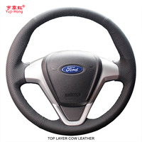 PONSY Top Layer Genuine Cow Leather Car Steering Wheel Covers Case for Ford Fiesta 2009 2013 EcoSport 2013 Cover Car styling