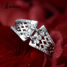 Bamos Dainty Belt Ring Vintage White Gold Filled Engagement