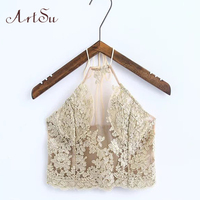 ArtSu Elegant Lace Floral Crop Top Summer Beach Halter Tops Gold Sexy Party Camis Boho Womens