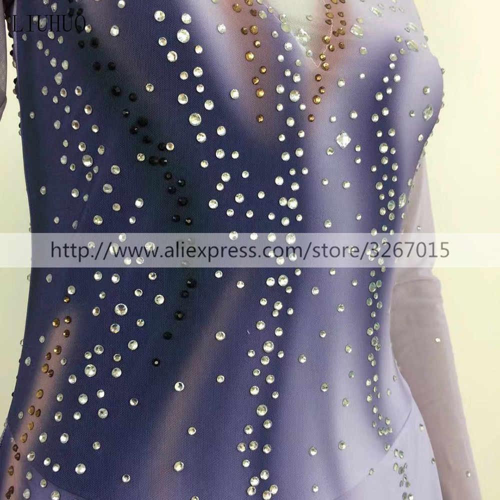 Платье для фигурного катания женское/платье для катания на коньках для девочек с длинным рукавом стоячий воротник серо-черный градиент цвета с открытой спиной