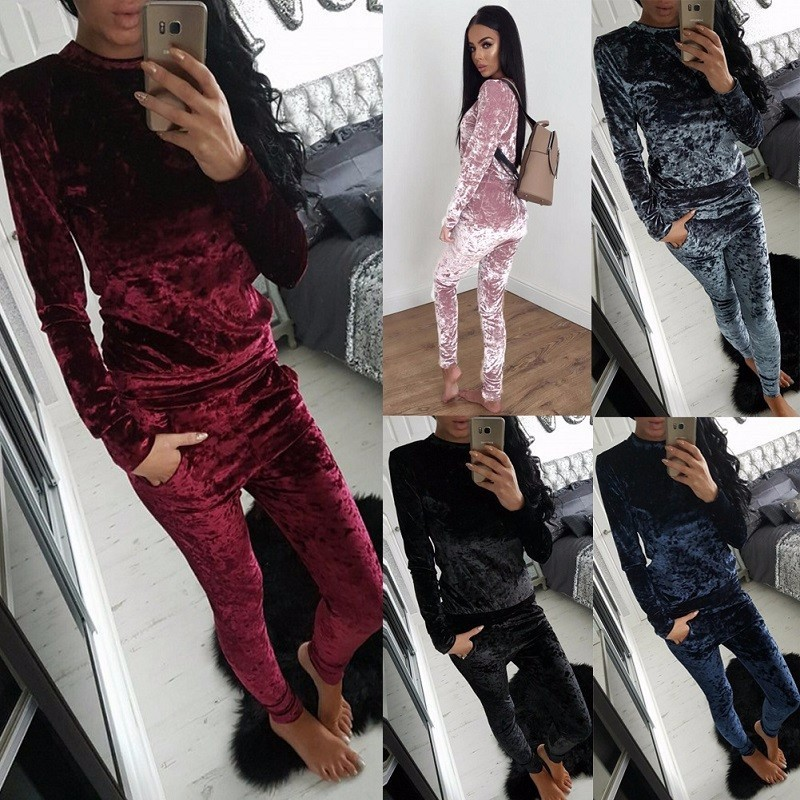 Soft Solid Sleep Suit Set 2019 Women Tracksuit Two-piece Sport Style Outfit Jogging Sweatshirt Fitness Lounge Sportwear