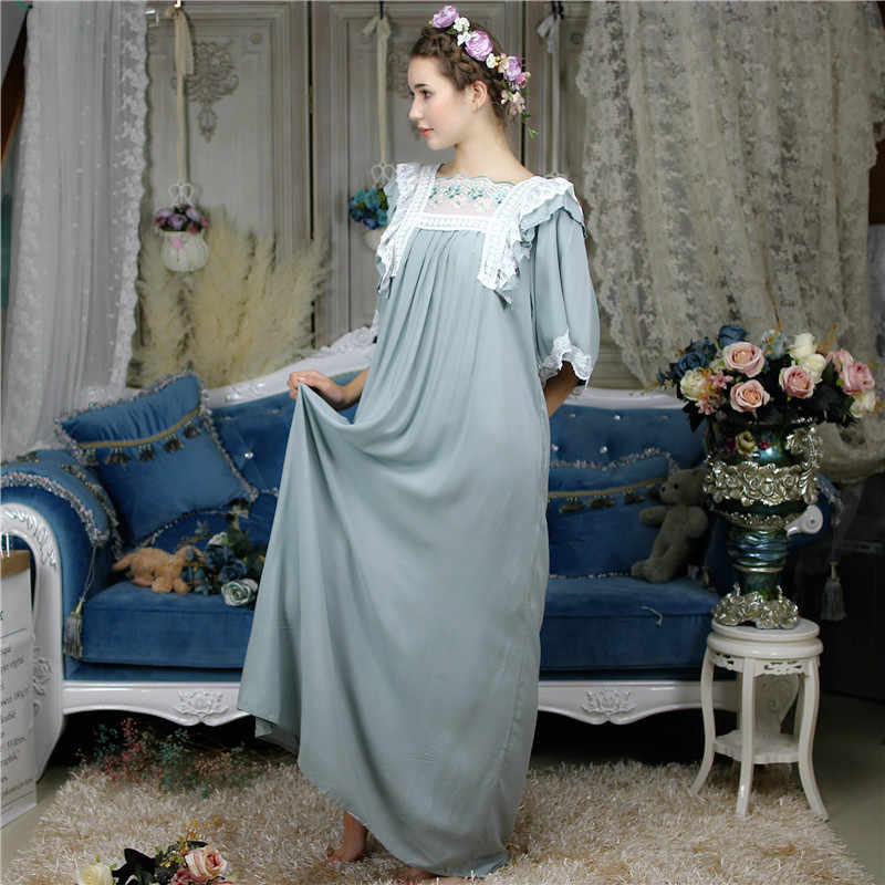 2900279f6b Henrietta Vintage Sleepshirt Victorian Butterfly Sleeve Autumn Night Dress  Long Robe Romantic Lace Babydoll Sleepwear Nightgown