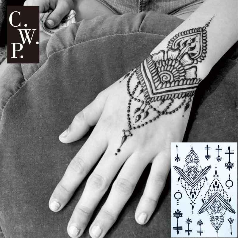 Bh1704 1 Piece Black Henna Cuff Tattoo With Flower Wrist: #BH1702 1 Piece Traditional Black Henna Tattoo With