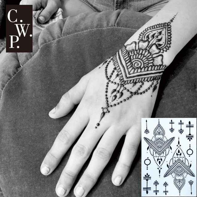 Bh1702 1 Piece Traditional Black Henna Tattoo With Triangle And