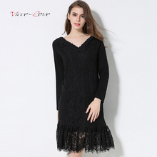 2018 Winter Spring New Women Wild Black V-neck Stitching Lace Knitted Bottoming Solid Color Dress Female Plus Cashmere Dresses