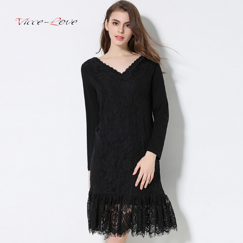 2018 Winter Spring New Women Wild Black V-neck Stitching Lace Knitted Bottoming Solid Color Dress Female Plus Cashmere Dresses new 2017 hats for women mix color cotton unisex men winter women fashion hip hop knitted warm hat female beanies cap6a03