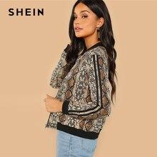 SHEIN Multicolor Highstreet Snakeskin Print Colorblock Striped Sleeve Jacket 2018 Autumn Modern Lady Casual Women Coat Outerwear