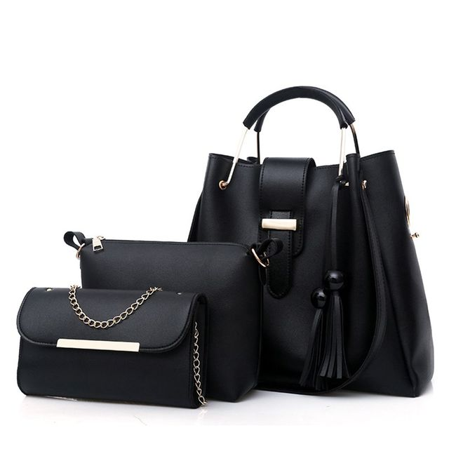c0809fed6a96 3Pcs Sets Women Handbags Leather Shoulder Bags Female Large Capacity Casual Tote  Bag Tassel Bucket Purses And Handbags Sac Femme