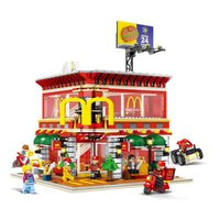 compatible Legoinglys LED Light McDonalds Restaurant 4 in1 architecture City Street View Block Bricks Toys For Children Gift