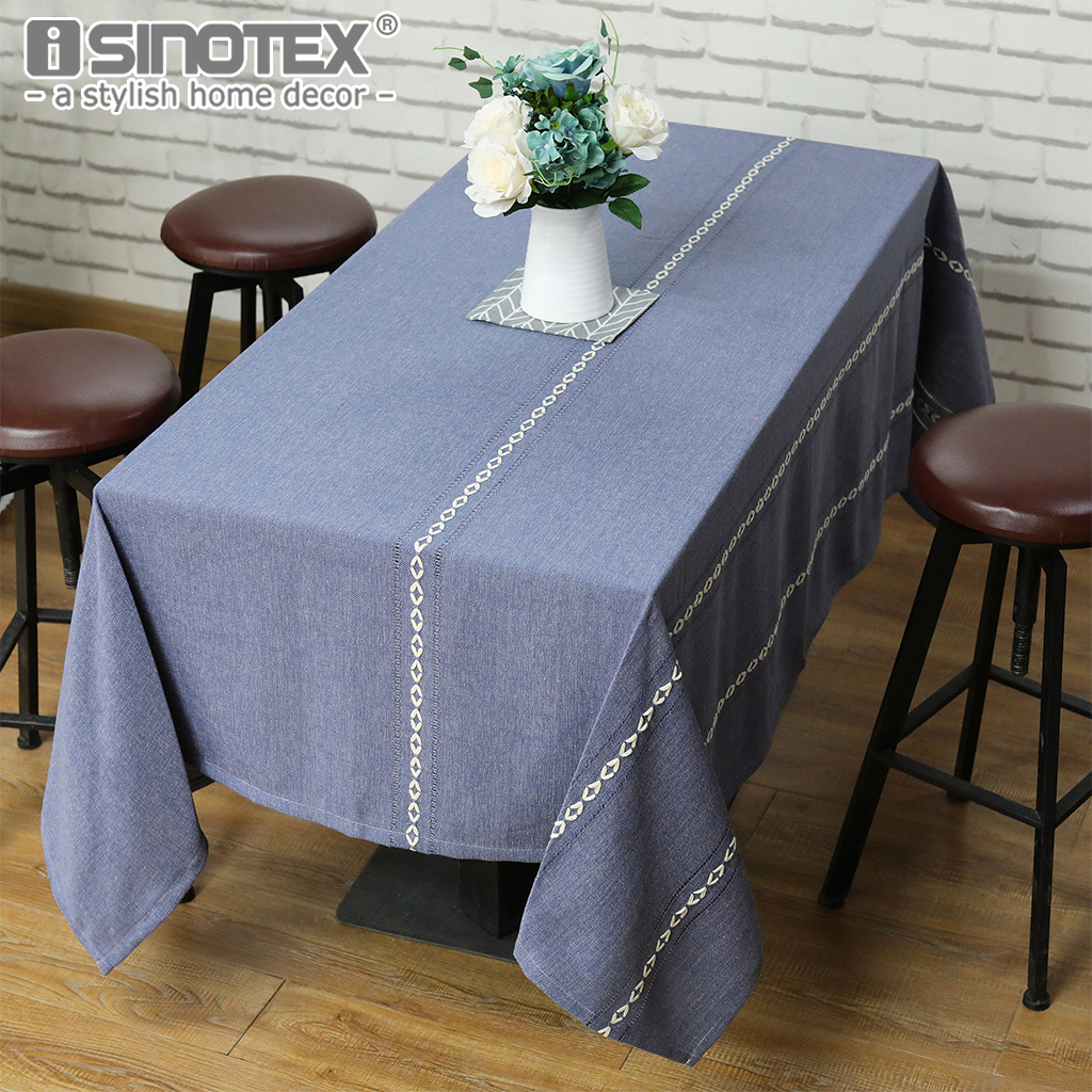 Vintage Blue Tablecloth With White Crochet Decorative Table Cover Polyester  Cotton Rectangle Washable Tablecloth Home Decor In Tablecloths From Home ...