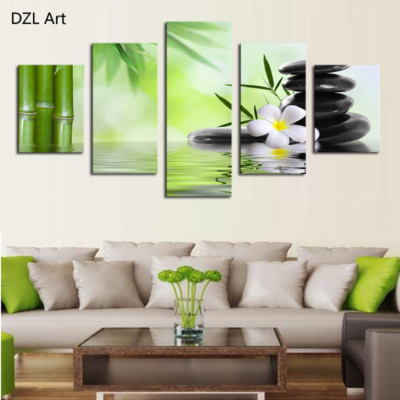 Unframed 5 Piece The Bamboo and stones Modern Home Wall ...