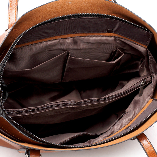 DIDA BEAR Brand Women Leather Handbags Lady Large Tote Bag Female Pu Shoulder Bags Bolsas Femininas Sac A Main Brown Black Red 5