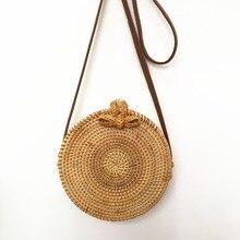 все цены на New Hot INS Fashion Round Straw Handbags Summer Rattan Women Bag Handmade Woven Beach Handbag For Women shoulder Bag  female