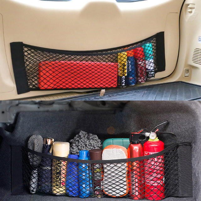 Car Storage Organizer Mesh Trunk Holder Auto Backseat Trunk Bag Elastic String Net Universal For Auto Luggage Nets Travel Pocket