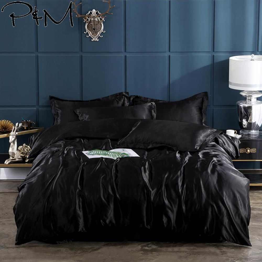 2019 простое сексуальное черное постельное белье PAPA & MIMA атласное шелковое из