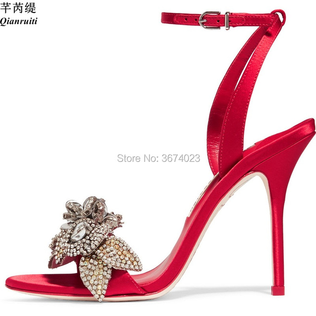 0c6db79619233 Qianruiti 2018 Bridal Wedding Silk Sandals Flower Crystal High Heels Ankle  Strap Open Toe Stilettos Diamonds Dress Sandals Women