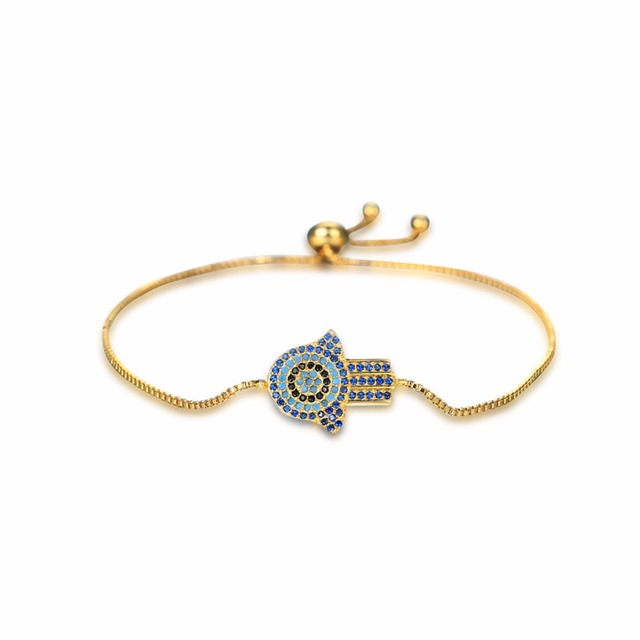 Turkish Jewelry Fatima Hamsa Hand Bracelet Women Men Simple Turkey Evil Eye Charm Bracelets Bangle Adjustable