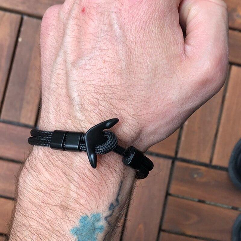 Anchor Bracelet Men Charm Survival Rope Chain Bracelets Paracord Fashion Black Color Anchor Bracelet Male Wrap Metal Sport Hooks
