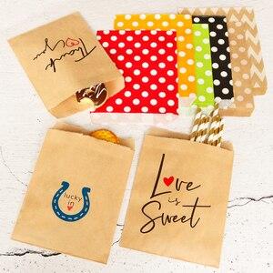 Image 4 - 25 adet teşekkür ederim Kraft kağıt torba renkli Polka nokta çizgili Chevron kağıt hediye çantası düğün şeker torbaları doğum günü hediyesi ambalaj
