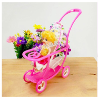Kids Birthday Gift Plastic Baby Stroller for Doll Dollhouse Furniture Pretend Play Simulation Baby Stroller Table Display Toys