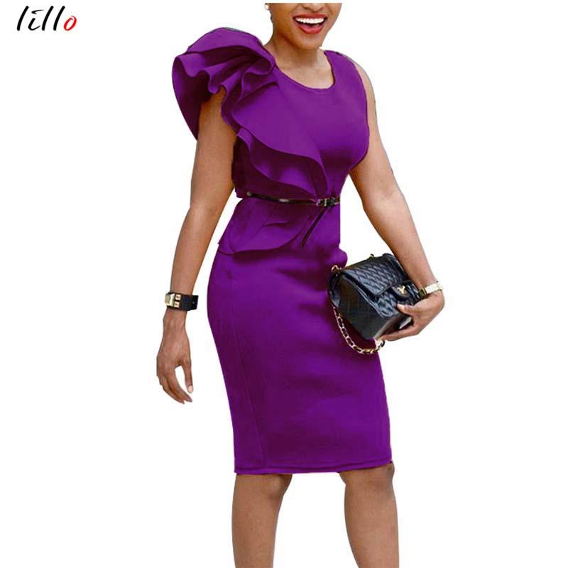 Temperament dress fashion sexy wooden ear petal sleeves hip pencil dress Office Lady temperament African women summer dress sexy