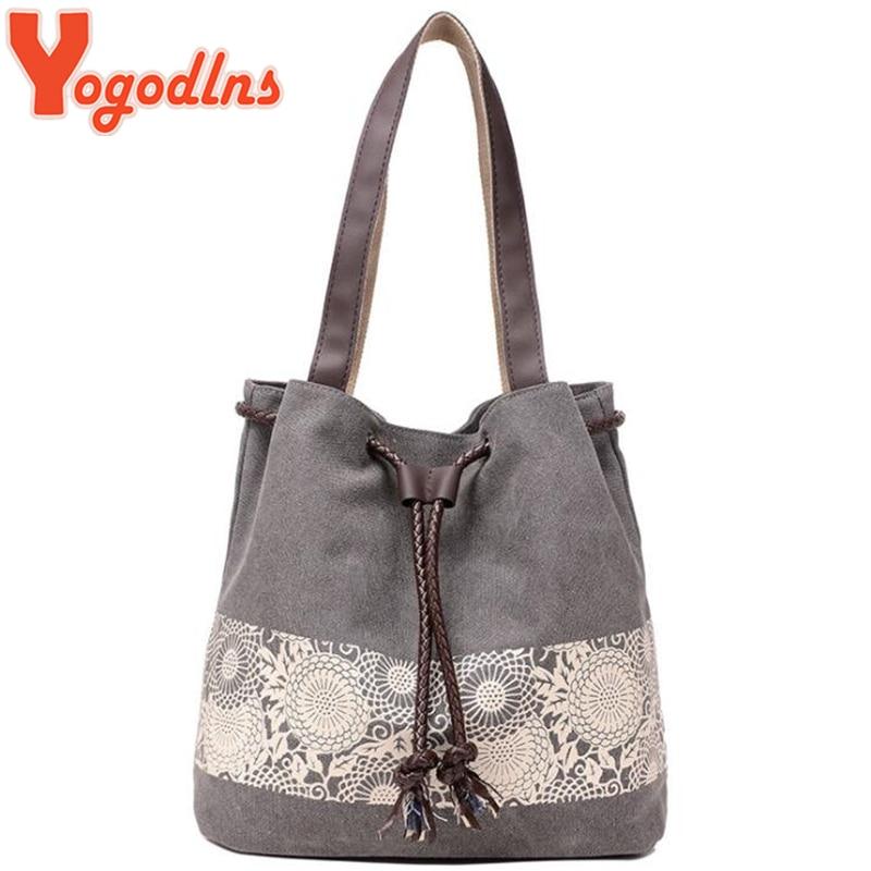 Yogodlns Casual Women Handbag Canvas Floral Print Shoulder Bags Female Large Tote Drawstring Shopping Handbags Bolsa Feminina
