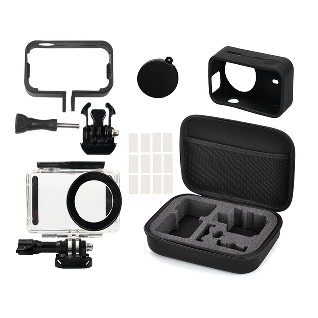 5IN1 Full Bảo Vệ Bộ Túi Cho XIAOMI MIJIA 4K Camera Chống Thấm Nước Ốp Lưng Bên Khung Bao Ốp Silicone