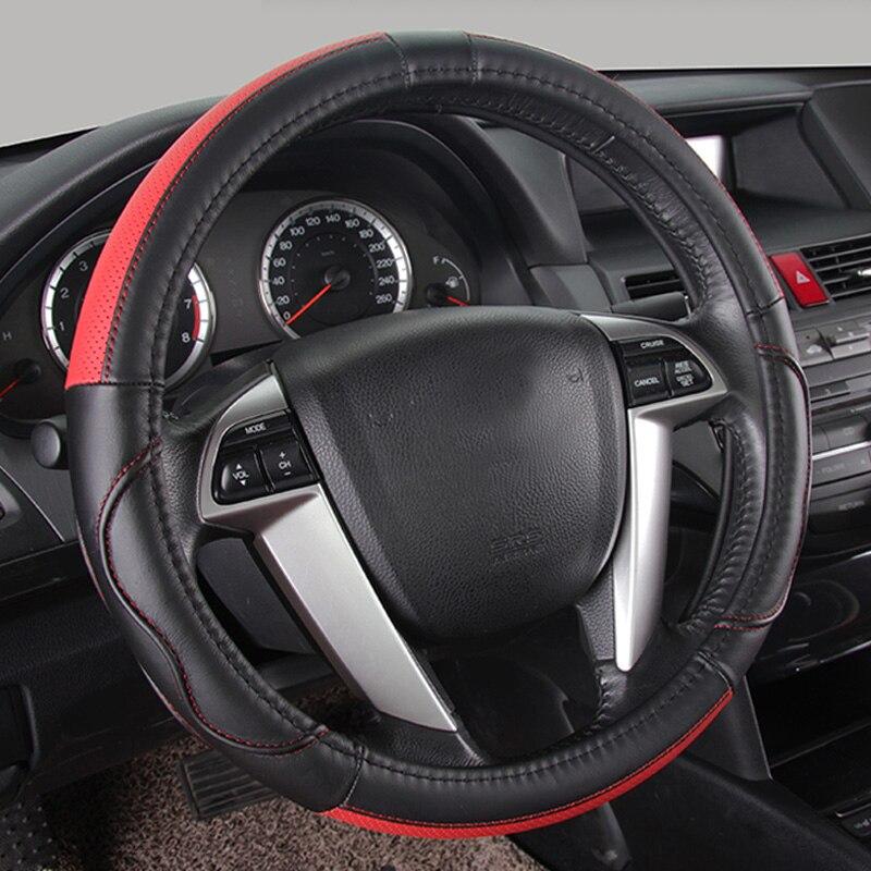 Couvre-volant en cuir véritable couvre-volant de voiture à la mode pour filles volants noirs et moyeux de volant