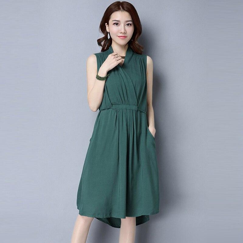 Summer Fashion Women Sleeveless Dress Cotton Linen V-neck Knee Length Vest Dresses Ladies Solid Color Pockets Vestidos RE0634