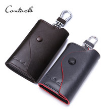 CONTACT'S Men Genuine Leather Key Wallet Male Housekeeper Small Key Holders Man's Keychain Pouch Key Case With Card Slot Purse(China)