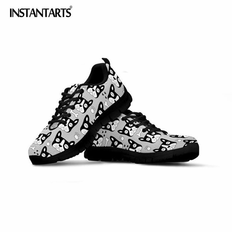 INSTANTARTS French Bulldog Printed Men Casual Sneakers Boys Comfortable Lacing Walking Shoes Male Lightweight Mesh Flat Shoes