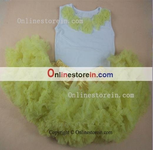 Wholesale light yellow baby girls tutu skirts outfit, summer baby dresses,fluffy short skirts and rosette t-shirt